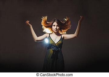 european-looking, meisje, van, twintig, jaren, verheven, haar, haar omhoog, op, een, gr