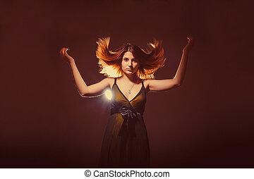 european-looking, meisje, van, twintig, jaren, verheven, haar, haar omhoog