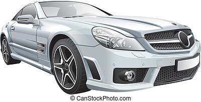 European luxury roadster - Detail vector image of European...