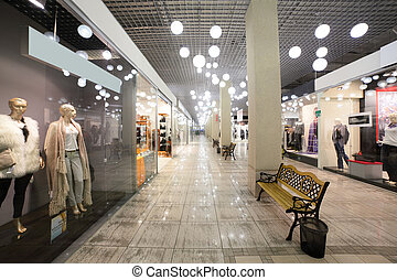 european mall interior with shops - modern interior and...