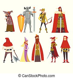 European Medieval Characters Set, Old Witch, Knight, Archer,...