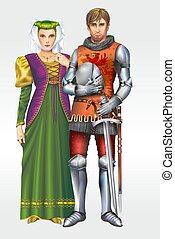 Medieval Knight with Wife - European Medieval Knight with...