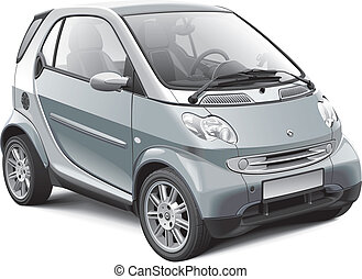 European microcar - Detail vector image of modern subcompact...