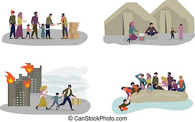 European Migrant Crisis Concept set. Refugee Family with Children. Sailing to Europe on the Boat. Crossing the border and Life in the Refugee Camp. Flat Art Vector illustration