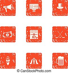 European monetary bank icons set, grunge style