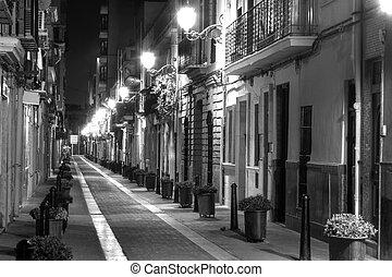 European Narrow Street - A Narrow Street at Night in Europe