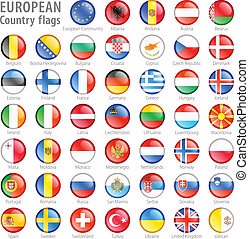 European National Flag Buttons Set - Hi detail vector shiny...