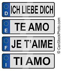 European number love plates - Four European Union number ...
