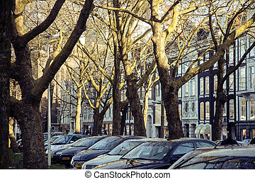 european parking, cars on background with Amsterdam facade ...