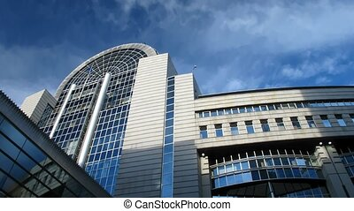 European Parliament. 29,97fps - Time lapse clouds over...