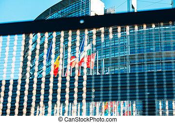 European Parliament and all Flags