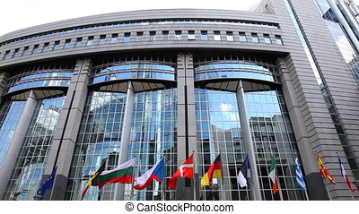 European Parliament in Brussels and flags of member states (B-F).