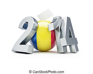European Parliament elections in Romania on a white...