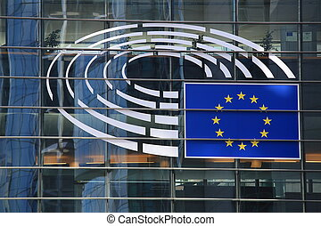 European Parliament emblem close-up - Brussels, Belgium -...