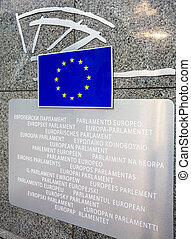 European Parliament entry sign with union flag in all EU...