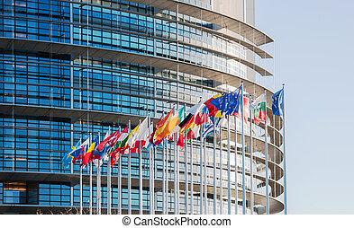 European Parliament facade with all EU European Union Country fl