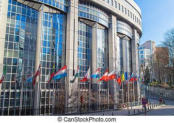 European Parliament offices in the Brussels, Belgium.