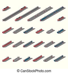 European passenger commuter and intercity trains isometric icon set