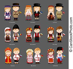 European people in national dress.
