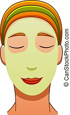 European red-haired woman with green face mask