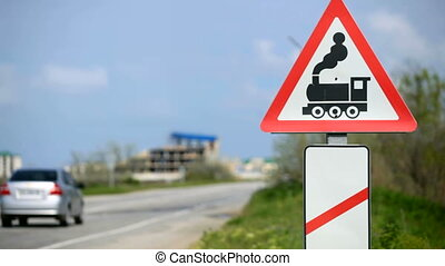 road sign - European road sign railroad crossing