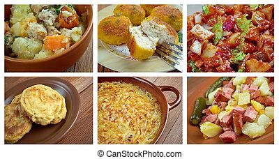 European  Scandinavia cuisine.Food set