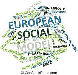 European social model - Abstract word cloud for European...