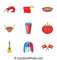 European Spain icons set, cartoon style