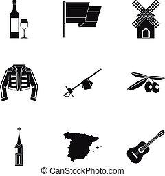 European Spain icons set, simple style