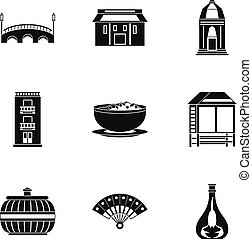 European street icons set, simple style
