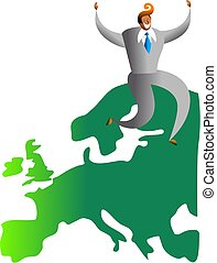 european success - happy asian man sitting on a map of...