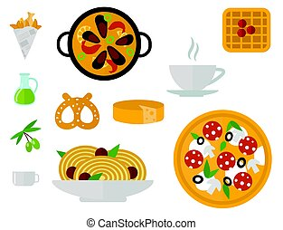 European tasty food cuisine dinner food showing delicious...