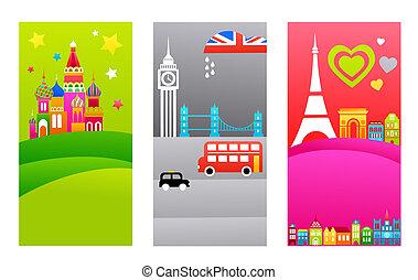 European travel destinations - Three tourist backgrounds...