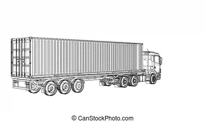 European truck blueprint style. 3d illustration turntable...
