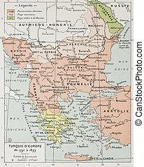 European Turkey between 1792 and 1877 old map. By Paul Vidal...