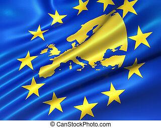 European Uniion flag - European Union flag with Europe map...