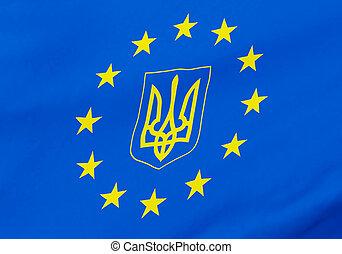 European Union and Ukraine flag