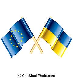 European Union and Ukraine vector flags glossy illustrations