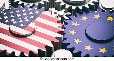 European Union and US of America flags on metal cogwheels. ...