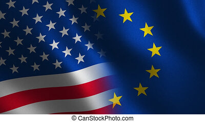 European Union and USA flag waving 3d. Transition. Alpha...