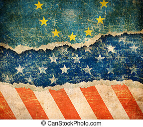 European union and USA flags on cardboard pieces 3d illustration