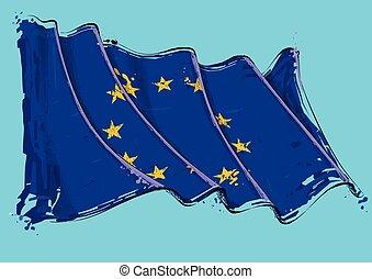 European Union Artistic Brush Stroke Waving Flag