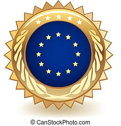 European Union Badge - Gold badge with the flag of the...