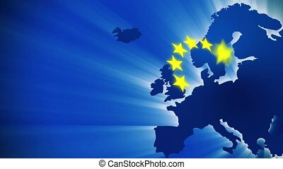 European Union - Blue map and the yellow stars, symbol of...