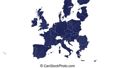 European Union blue textured map animated to illustrate the...