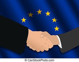 business handshake over European Union flag illustration