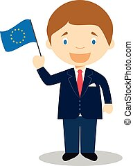 European Union cartoon character. Vector Illustration. Kids History Collection.