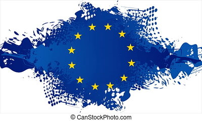 European Union concept grunge flag. Blue blot on white background video animation