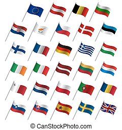 European Union country flags 2017, member states EU, flaming flags isolated on a white background