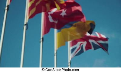 European Union country flags at evening - European Union...